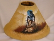 "Painted Leather Lamp Shade - 12"" Cowboy  (PL41)"