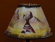 "Painted Leather Lamp Shade - 12"" -Indian Village  (PL60)"