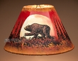 "Painted Leather Lamp Shade - 12"" -Moon Lit Bear  (PL55)"