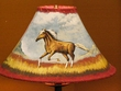 "Painted Leather Lamp Shade - 16"" Horse  (PL42)"
