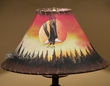 "Painted Leather Lamp Shade 16"" -Sunset Eagle  (pl117)"