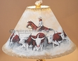 "Painted Leather Lamp Shade 18"" -Cattle Drive  (PL94)"