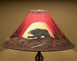 "Painted Leather Lamp Shade 22"" -Moon Lit Bear   (pl106)"