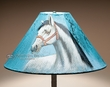 "Painted Leather Lamp Shade 18"" -Turquoise   (pl106)"