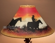 "Painted Leather Lamp Shade 20"" -Trail Hand  (PL86)"