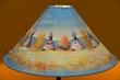 "Painted Leather Lamp Shade 24"" -Indian Village  (PL83)"