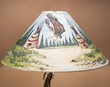 "Painted Leather Lamp Shade 24"" -Eagle Village  (PL82)"