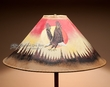 "Painted Leather Lamp Shade 24"" -Sunset Eagle  (PL84)"