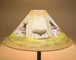 "Painted Leather Lamp Shade 24"" -Teepees  (PL85)"