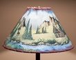 Painted Leather Lamp Shade - Country Cabin 16""