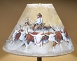 "Painted Leather Lamp Shade -Cowboy Cattle Drive 15""  (PL13)"