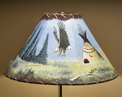 Painted Leather Lamp Shade -Indian Teepee 16""