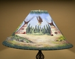 "Southwest Leather Lamp Shade 22"" -Indian Village  (PL101)"