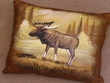Painted  Leather Pillow -Moose  (6)