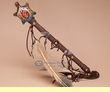 """Painted Native American Rawhide Rattle 15"""" -Turtle  (183)"""