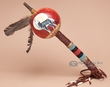 """Painted Native American Tigua Gourd Rattle 16"""" -Wolf  (175)"""