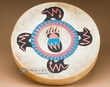 """Painted One Sided Indian Hand Drum 16""""- Four Bears"""