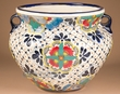"Hand Painted Southwest Talavera Vase 12""x9"" -Planter  (185)"