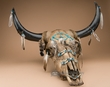 Genuine Rustic Steer Skull 25x25 -Southwestern  (ps87)