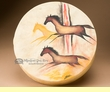 "Painted Tarahumara Hand Drum 16"" -Rock Drawings  (pd62)"