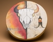 "Painted Tarahumara Indian Drum 16"" -Buffalo Skull"