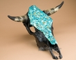 Painted Turquoise Stone Overlaid Steer Skull 18x18  (ps78)