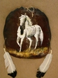 "Painted Turtle Shell Mandella 13""x14"" -White Horse   (19)"