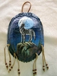 "Painted Turtle Shell Wall Hanging 6""x8"" -Wolf   (32)"