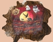 Painted Western Hide Wall Hanging -Moon Light  (ph37)