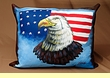 Painted Western Leather Pillow -Eagle   (p16)