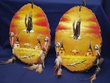 Pair Painted Log Wall Plaques -Indian Village  (1)
