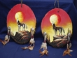 Pair Painted Log Wall Plaques -Wolf