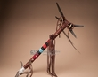 "Pueblo Indian Antler Top Medicine Stick 23.5"" -Tigua  (m86)"