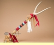 "Pueblo Indian Deer Skin Antler Medicine Staff 34""  (s109)"