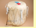 "Pueblo Indian Ceremonial Log Drum 15""x16""  (d205)"