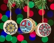 Pueblo Indian Painted Christmas Ornament Set -Acoma  (o71)
