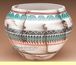 Rainbow Etched Horse Hair Navajo Pottery