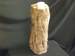 Rustic Barn Wood & Barbed Wire Candle Holder 15""