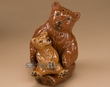 Rustic Ceramic Salt & Pepper Shaker Set -Bear & Cub  (sp10)