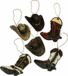 Western Christmas Ornament 6pc. Set -Cowboy  (o3)