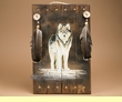"Rustic Hand Painted Wooden Wall Plaque 13x20"" -Wolf  (P56)"