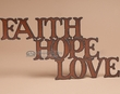 Rustic Metal Art Wall Plaque  -Faith, Hope, Love  (p101)