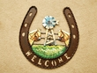 Rustic Metal Horseshoe Welcome Plaque  (21)