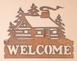Rustic Metal Wall Plaque -Cabin Welcome  (p209)