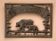 "Rustic Metal Welcome Plaque 13.5""x10"" -Bears"