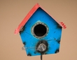"Rustic Metal Yard Art 44"" -Bird House on Stick  (ma116)"