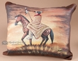 Rustic Painted Leather Cowhide Pillow 12x17 -Warrior  (25)