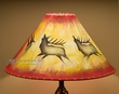 "Rustic Painted Leather Lamp Shade 20"" -Elk  (OL3)"