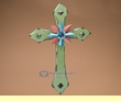"Rustic Southwestern Wood & Metal Cross 16"" -Green  (c11)"