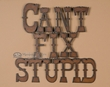Rustic Tin Wall Sign -Can't Fix Stupid  (p62)